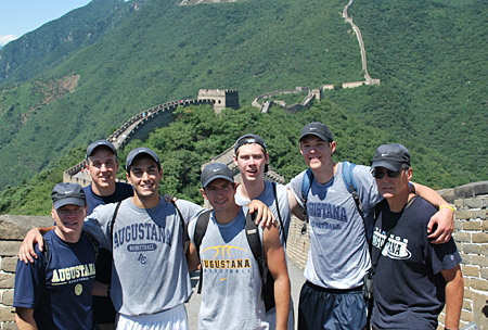 Augustana players and coaches on the Great Wall