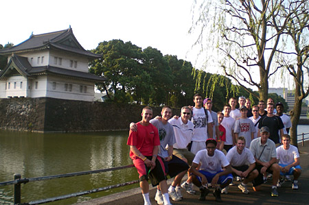Augustana players and coaches in Japan